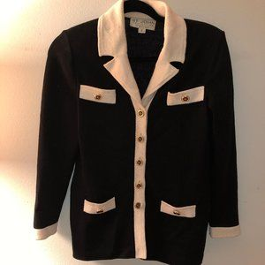 St. John Collection black white santana knit jacke